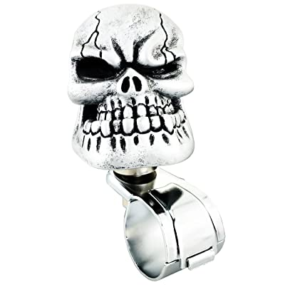 Lunsom Skull Shape Steering Wheel Spinner Resin Driving Power Handle Control Grip Booster Suicide Knob Car Turning Aid Helper Fit Universal Vehicle (Silver): Automotive