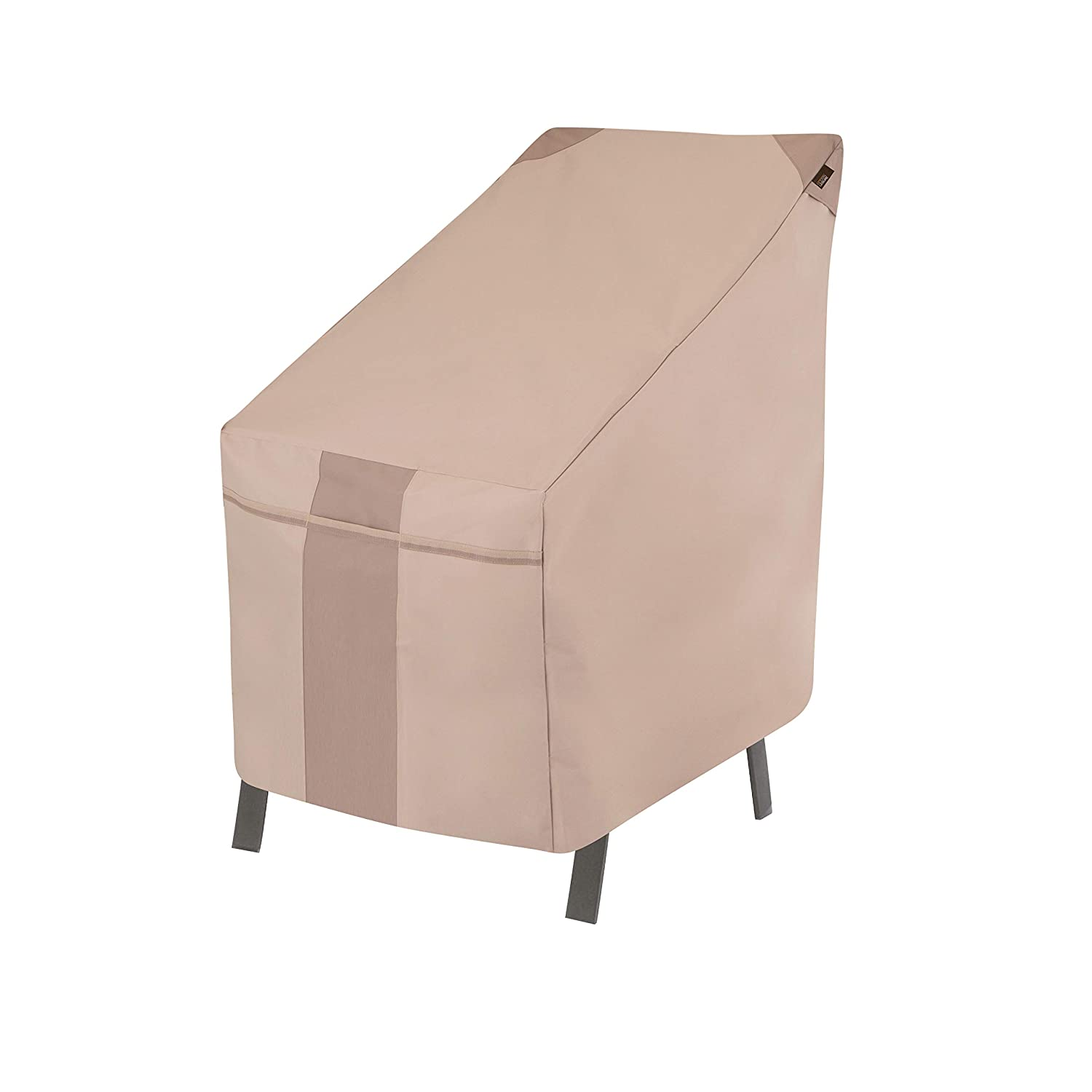 Modern Leisure 2901 Monterey High Back Patio, Stackable Chairs, Outdoor Cover (25.5 L x 35.5 D x 45 H inches) Water-Resistant, Khaki/Fossil