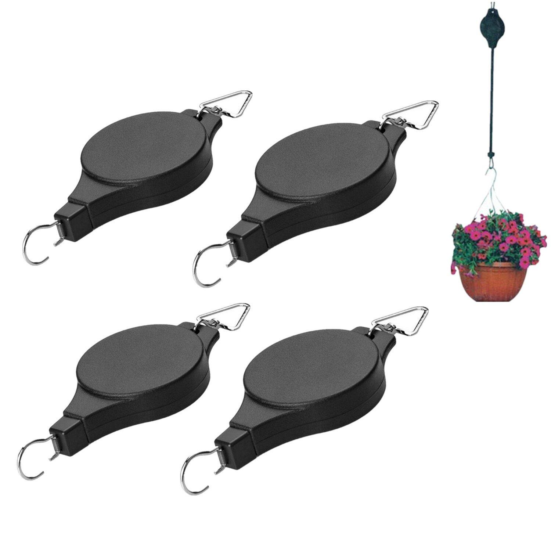 4Pcs Retractable Plant Pulley Adjustable Hanging Flower Basket Hook Hanger for Garden Baskets Pots and Birds Feeder Hanging Basket Indoor Outdoor Decoration by W-family