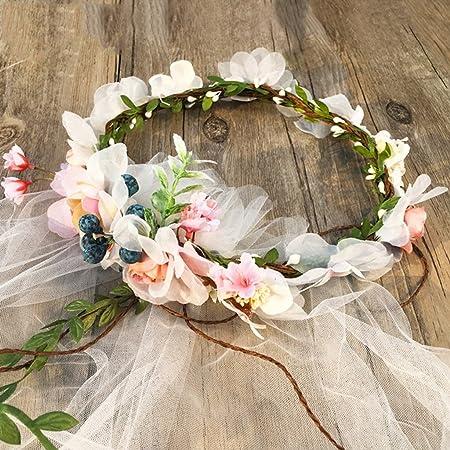 LYM &Kopfbedeckungen Blumenkranz Braut Kopfschmuck Schleier Kranz Schleier Hochzeit Fotostudio Foto Haarschmuck Kleid Zubehör
