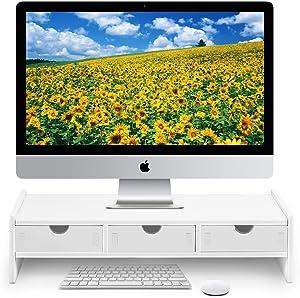 "Monitor Stand Riser, Computer Laptop Riser Shelf with 3 Organizer Drawers (White, 19.5""L x 7.5""W x 4.7""H) (White)"