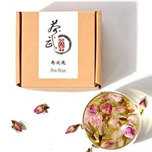 Cha Wu-[A] Pink Rose Buds(3oz),Loose Leaf Flower Petal Tea,Natural Fragrant Herbal Tea ,Afternoon Tea