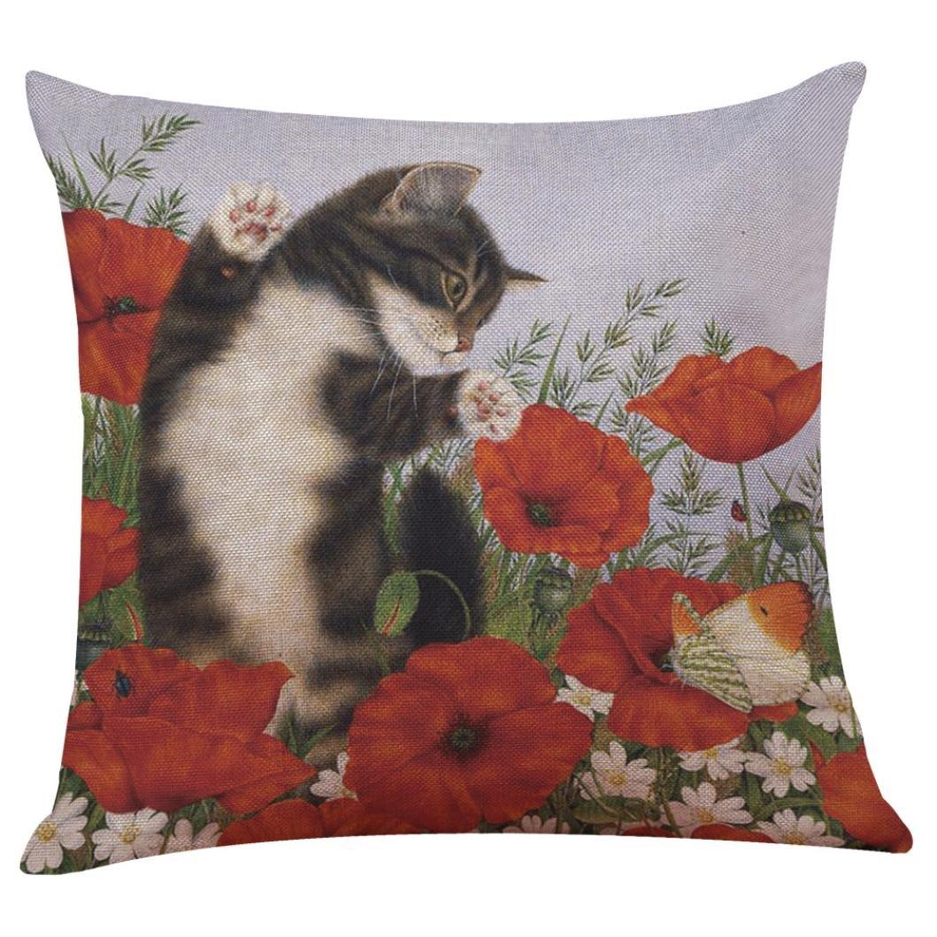 Subfamily federa cuscino, Gatto carino federa di lino abbraccio federa per cuscino da divano a vita casa arredamento 45_x_45_cm