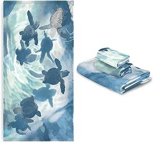 Sea Turtles Bath Towels Set of 3 Underwater Ocean Animal Hand Towel Turtle Towel Washcloth Soft Thin Face Guest Towel Kitchen Tea Dish Towels Bathroom Decorations Housewarming Gifts