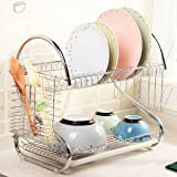 """2-Tier Chrome Dish drying Rack and DrainBoard, Kitchen Dish Cup Drying Rack Drainer Dryer Tray Cultery Holder Organizer 15.74 x 14.57 x 9.84"""""""