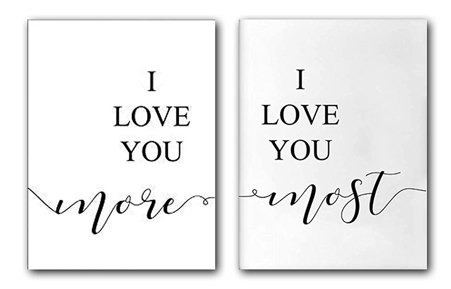 I love you more, I love you most, Set of 2 Wall Art Decor 24 x 36 Inches Poster Print UNFRAMED