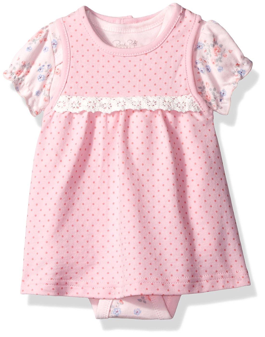 Rene Rofe Baby DRESS ベビーガールズ 6 - 9 Months Pink Polka Dots B01N2Y0674
