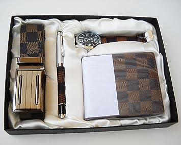 Estuche de regalo para hombre: Incluye reloj, bolígrafo, cartera y cinturón; Juego para graduación