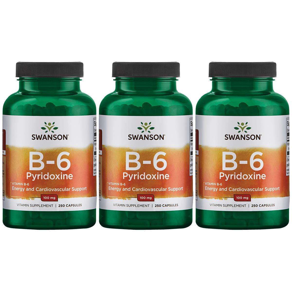 Swanson Vitamin B-6 Pyridoxine 100 mg 250 Caps 3 Pack