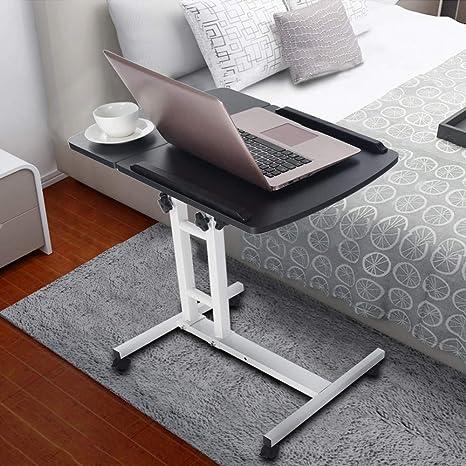 Laptop Desk,Vanvler Turn Lift Sit-Stand { Adjustable Laptop Table } Multifunction Computer Desk Cart Black