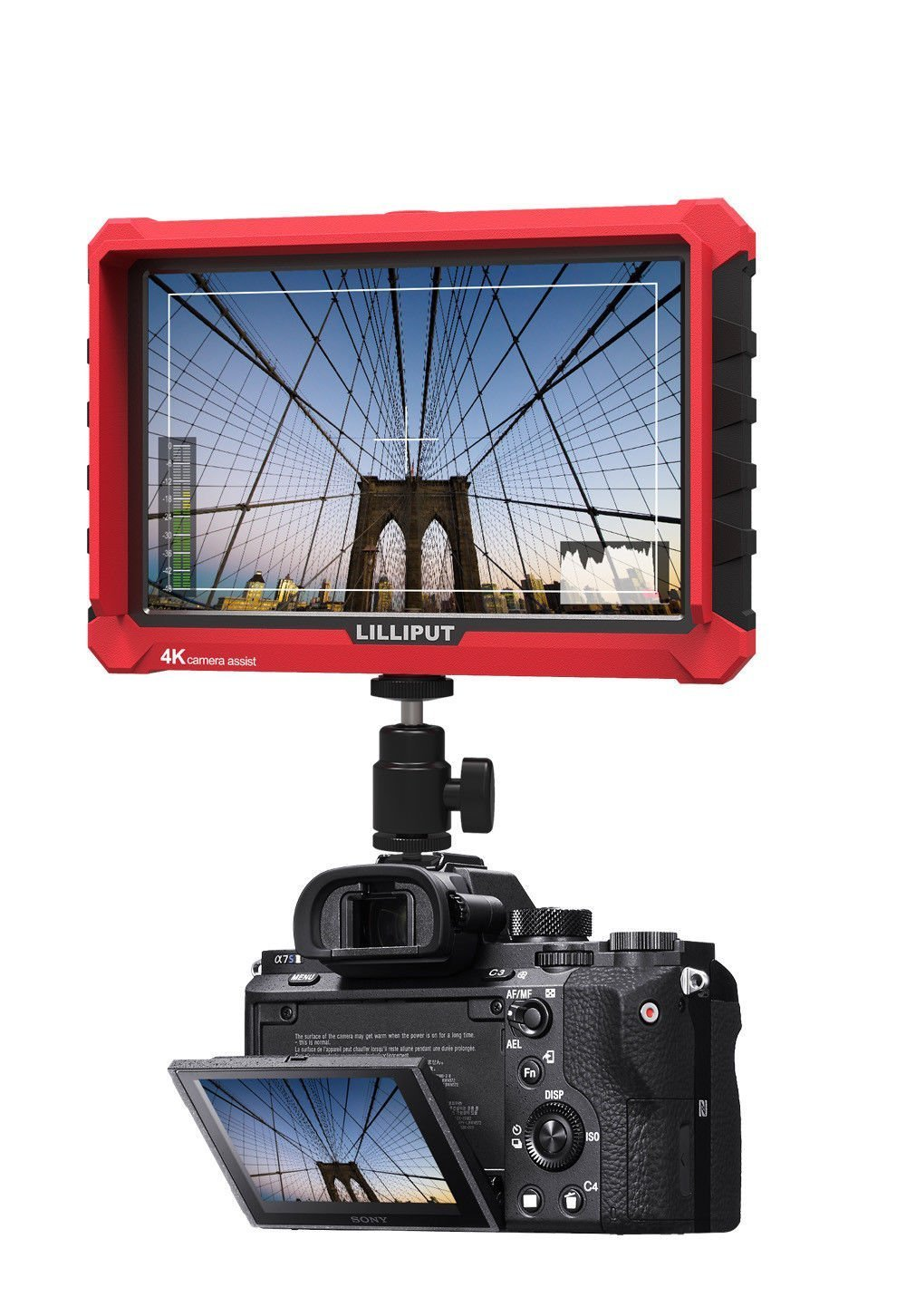 Lilliput A7S 7 Inch On Camera Field Monitor Supports 4K HDMI Input Loop Output 1920x1200 Native Resolution 1000:1 Contrast 500cd/m2 Brightness 170 Degree Wide Viewing Angle + CANON LP-E6 battery plate by Lilliput