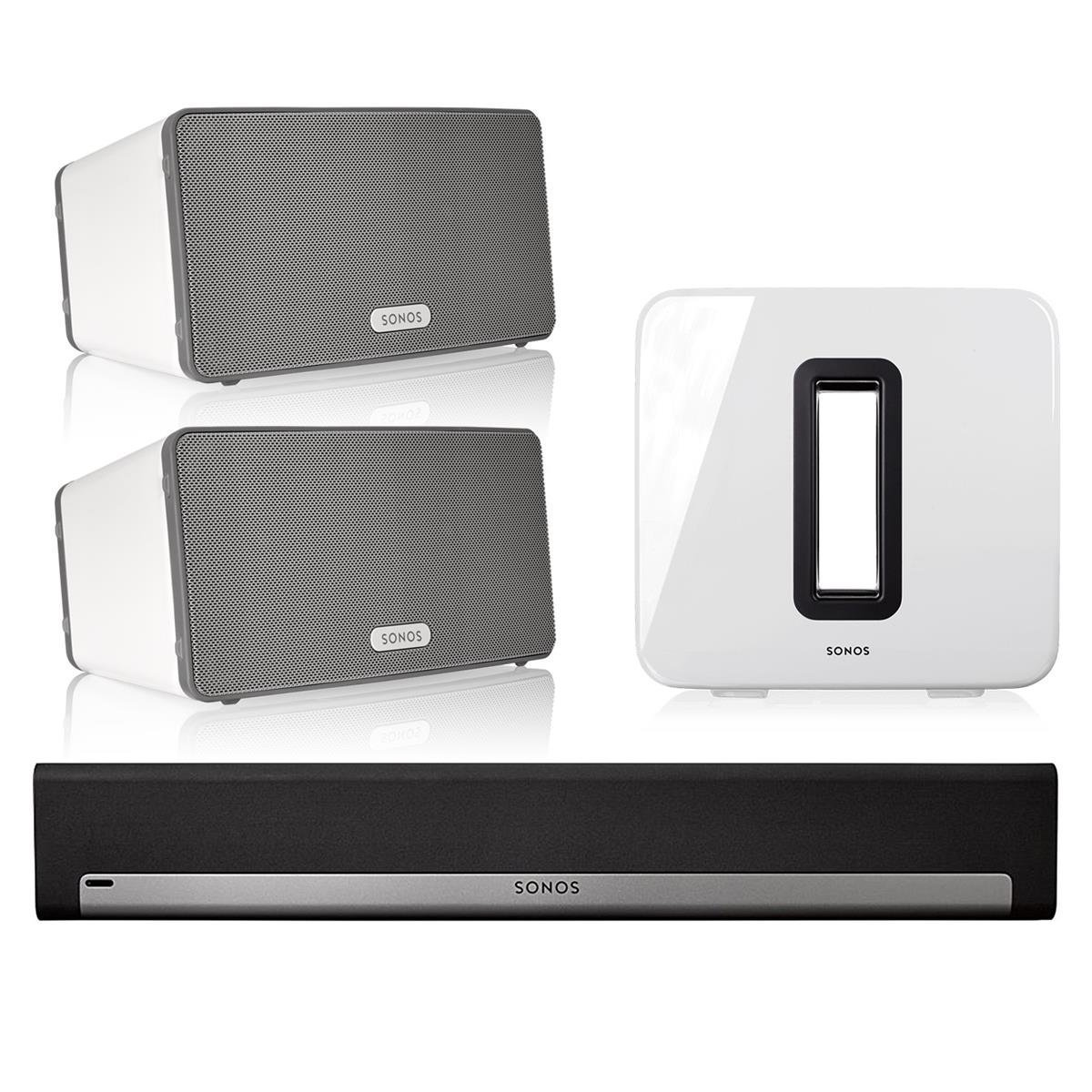 Sonos 5.1 Home Theater System with PLAY:3 (Pair), PLAYBAR, and SUB (White)
