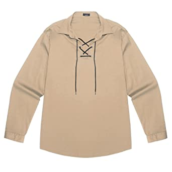 120c89721c1 Amazon.com  JINIDU Mens Scottish White Jacobite Ghillie Kilt Shirt Casual  Long Sleeve Lace Up Medieval Renaissance Pirate Costume Shirt  Clothing