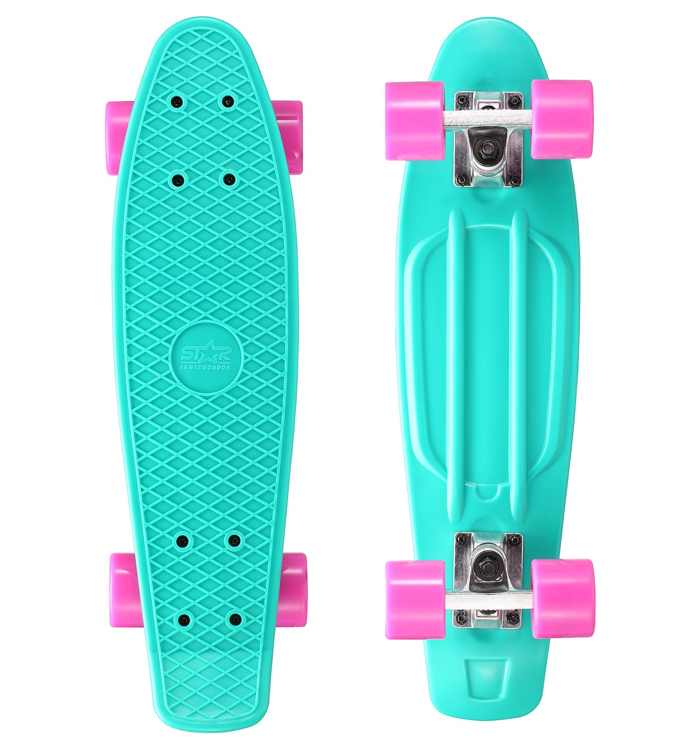 STAR SKATEBOARDS® Tabla Vintage Cruiser Skateboard ? s Edición Diamante ? Turquesa