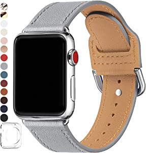 POWER PRIMACY Bands Compatible with Apple Watch Band 38mm 40mm 42mm 44mm, Top Grain Leather Smart Watch Strap Compatible for Men Women iWatch Series 6 5 4 3 2 1,SE (Light Gray/Silver, 42mm 44mm)
