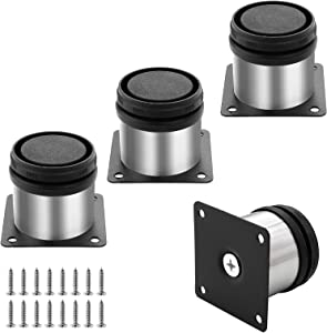 Kyuionty Set of 4 Stainless Steel Furniture Cabinet Legs, Adjustable Round Kitchen Feet for Table, Cabinets, Shelves, Sofa (50 x 50mm)