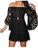 Dissa® dentelle noire prête à épaulement Mini robe,Noir,Taille unique