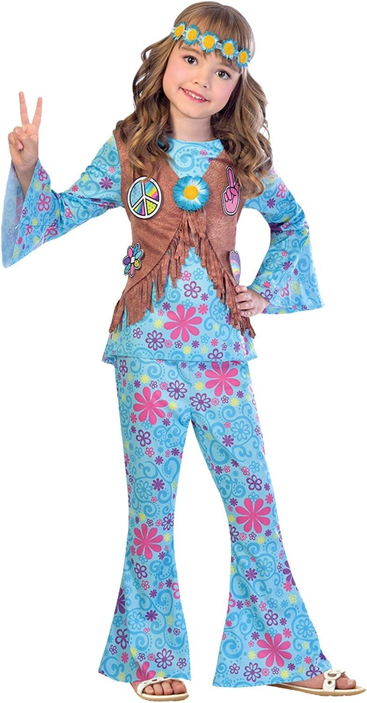 Amscan Disfraz de niña Hippy Flower Power para niños XL (10-12 ...