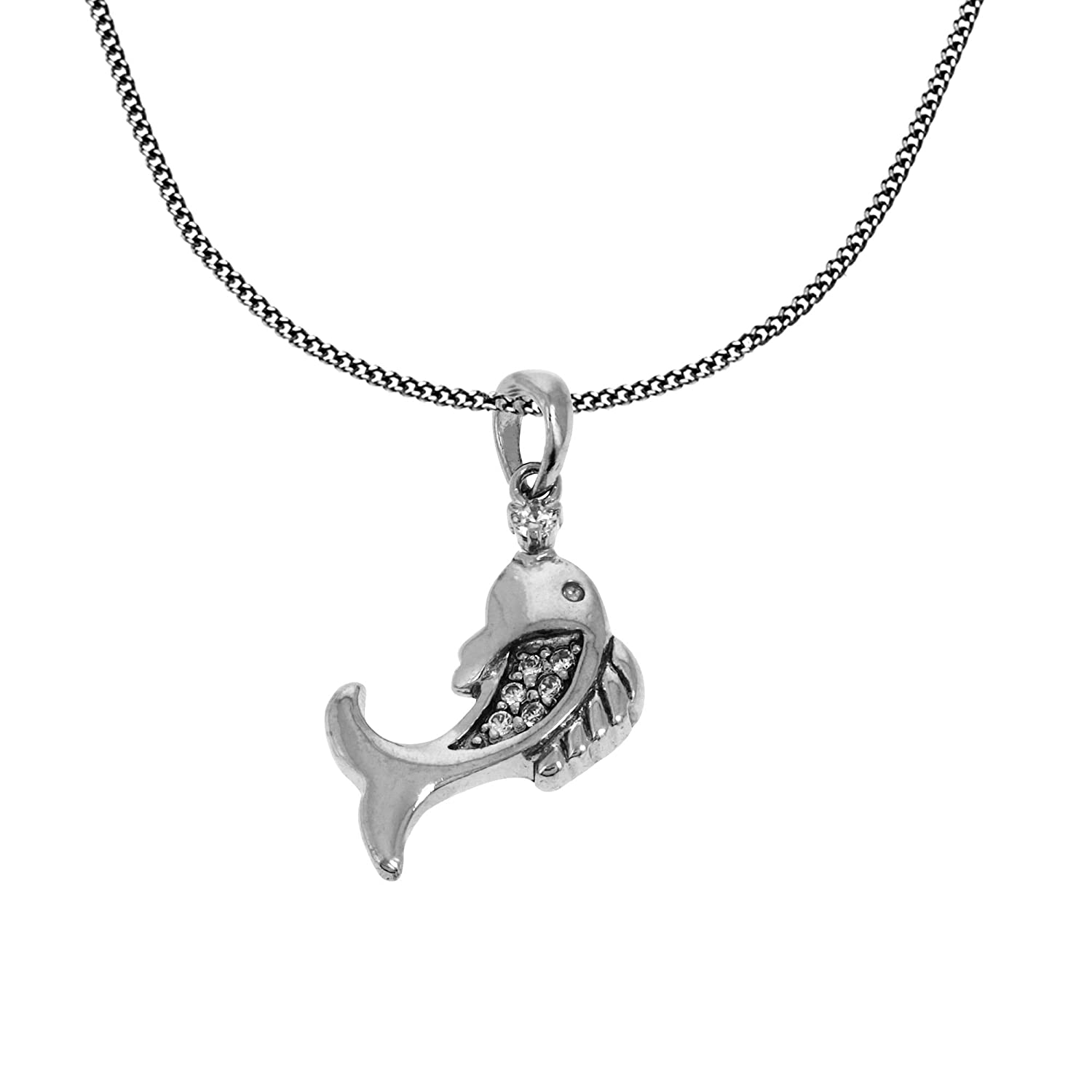 Indian Handmade Fish Charm Micro Pave Pendant Chain Silver Jewelry Birthday Gifts For Her