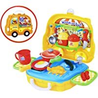 Fusine® Pretend Play Set for Boys & Girls | Kitchen Cooking Playset - Barbecue |Grill | Baking Tools Toy for Kids | Role Play Set in Portable Travel Suitcase with Wheels