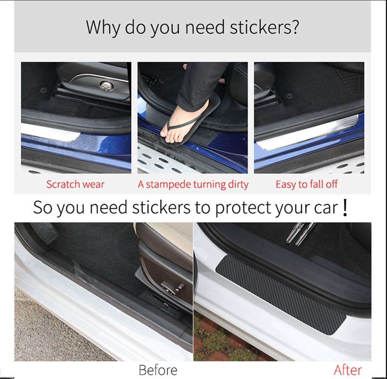 99corhomo 4pcs Carbon Fiber Vinyl Car Scuff Plate Door Sill Guard Car Sticker for Dodge RAM Charger Challenger Journey Durango Demon Grand Caravan