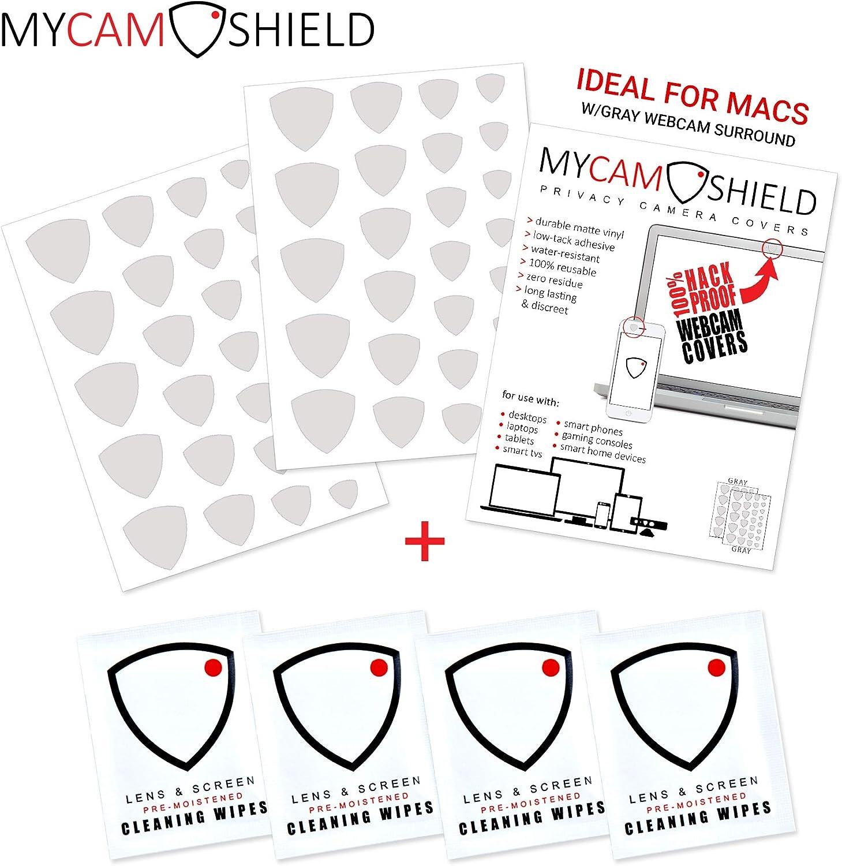 mycamshield | 52 all-vinyl Webcam/cámara Covers (2-sheets) | escritorio, portátiles, smartphones, tablets, y Smart TVs | 52 escudos + 4 lente/pantalla toallitas de limpieza: Amazon.es: Oficina y papelería