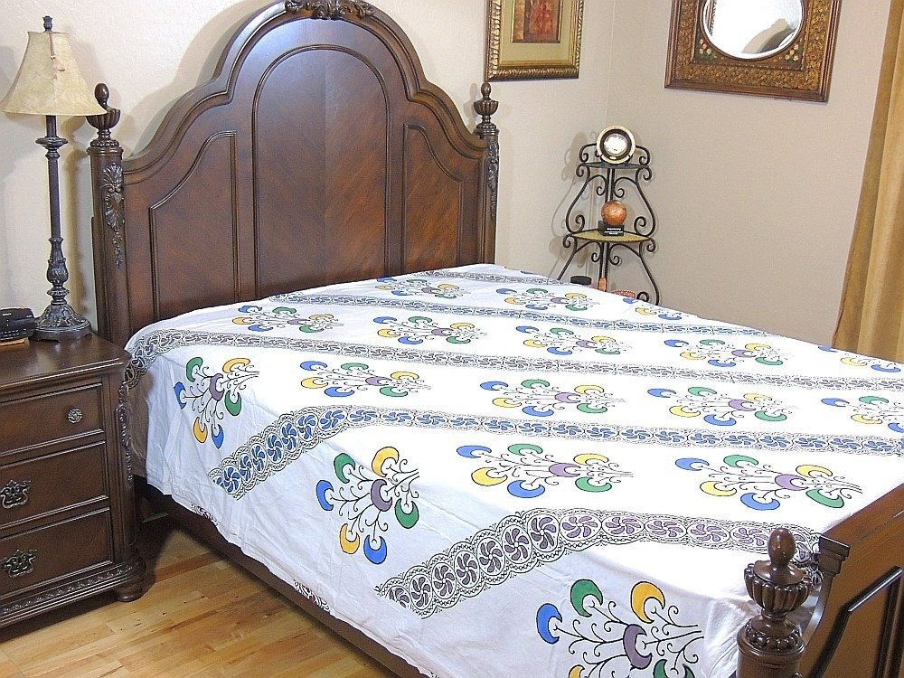 India Inspired Bedding Duvet White Block Printed Cotton Reversible Queen Linens by NovaHaat (Image #4)
