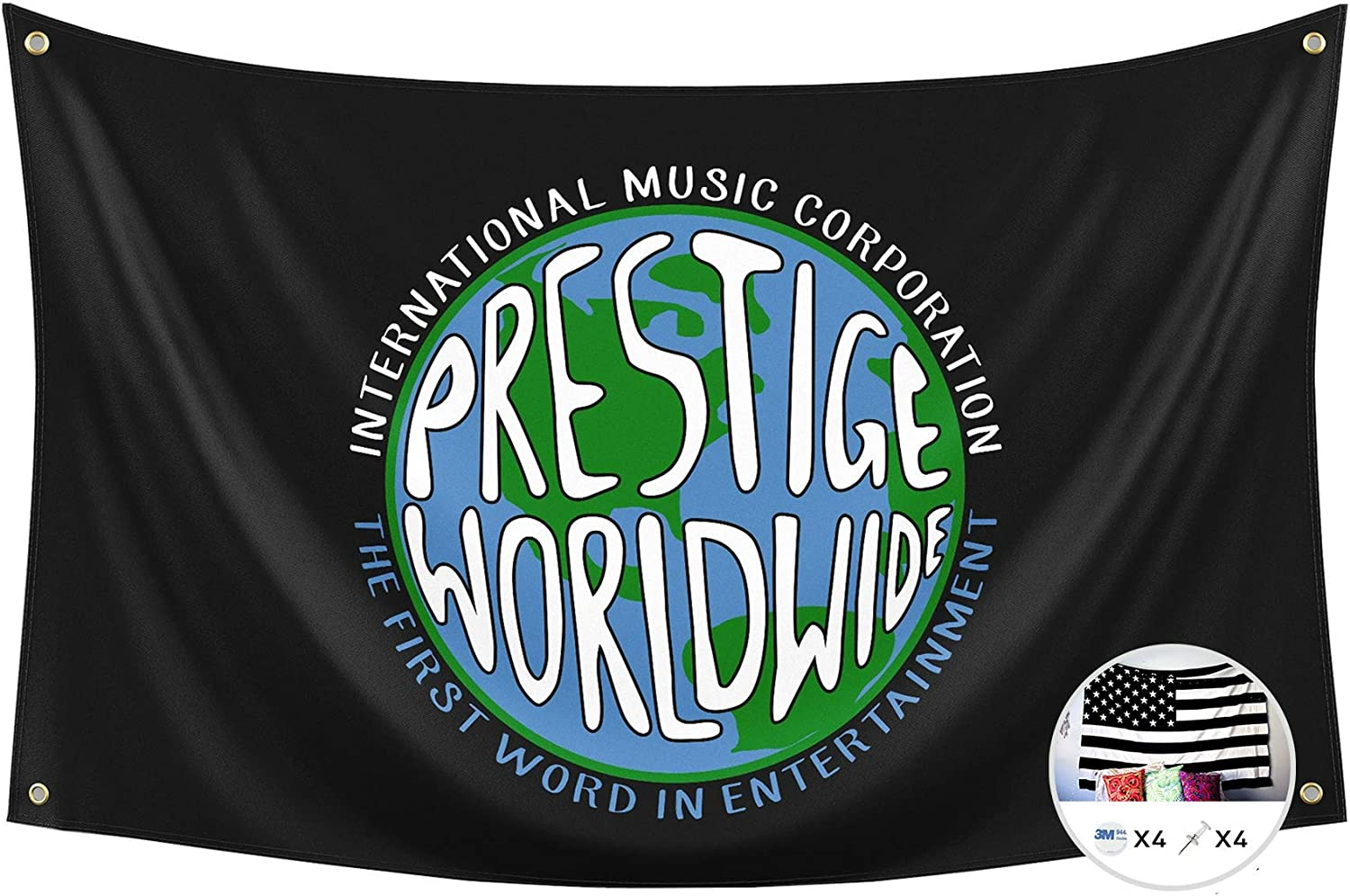 Prestige Worldwide Flag International Music Corporation 3x5 Feet Banner,Step Brothers Funny Poster UV Resistance Fading & Durable Man Cave Wall Flag with Brass Grommets for College Dorm Room Decor