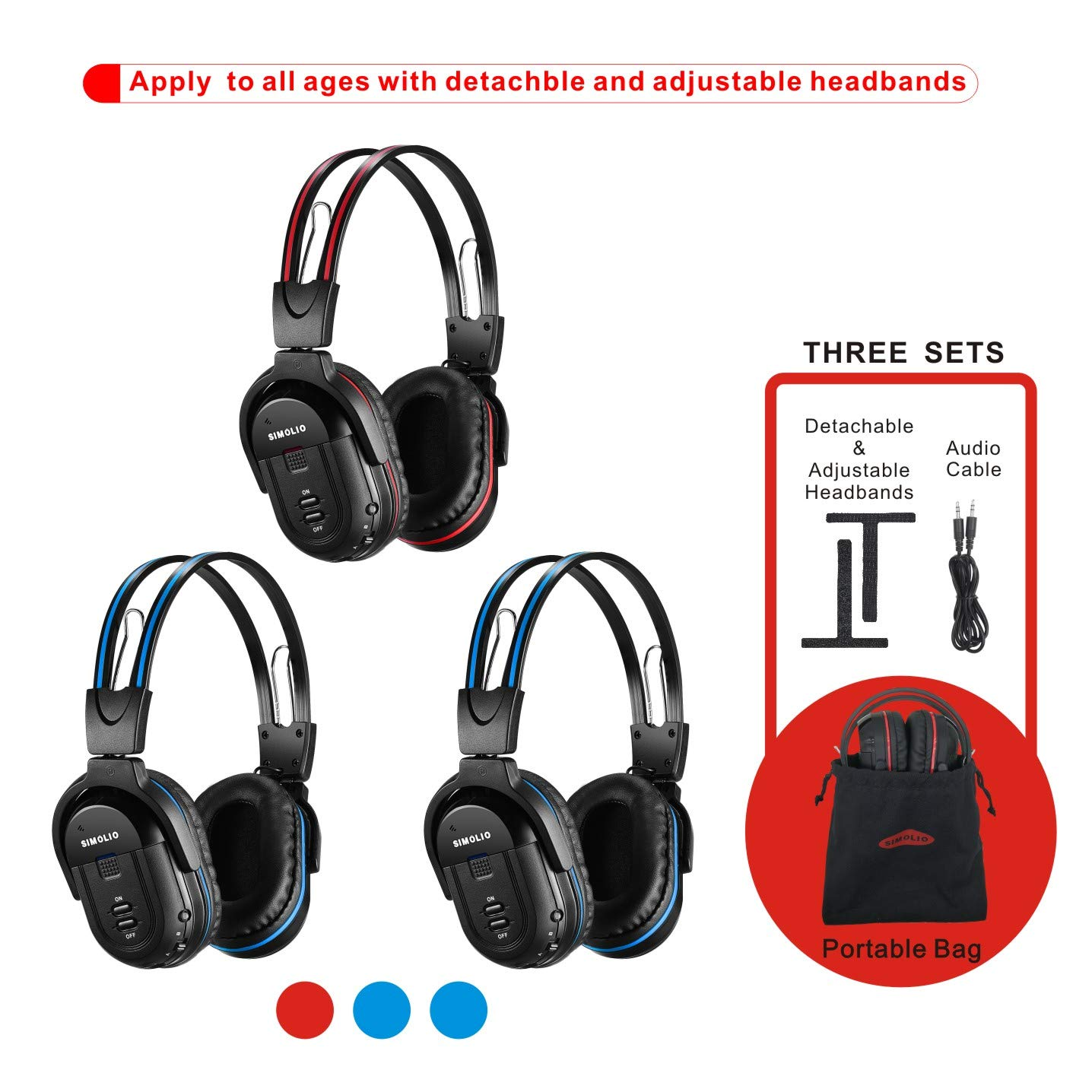 3 Pack of Wireless Car Headphones, Wireless Headphones for Kids, in Car Wireless Headphones with Travelling Bag for Universal Rear Entertainment System, 2 Channel Wireless Headphones by SIMOLIO
