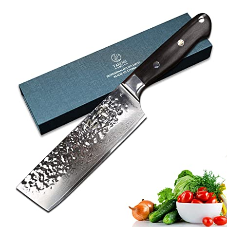Yarenh Professional Chef Knife 8 inch,Japanese Super 73 Layers Damascus Steel,Razor Sharp Kitchen knife,Ebony wood Handle,Cleaver Knives Perfect For ...