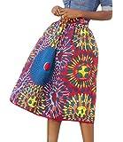 Lovezesent Women's African Print High Waist A-Line Pleated Midi Skirt