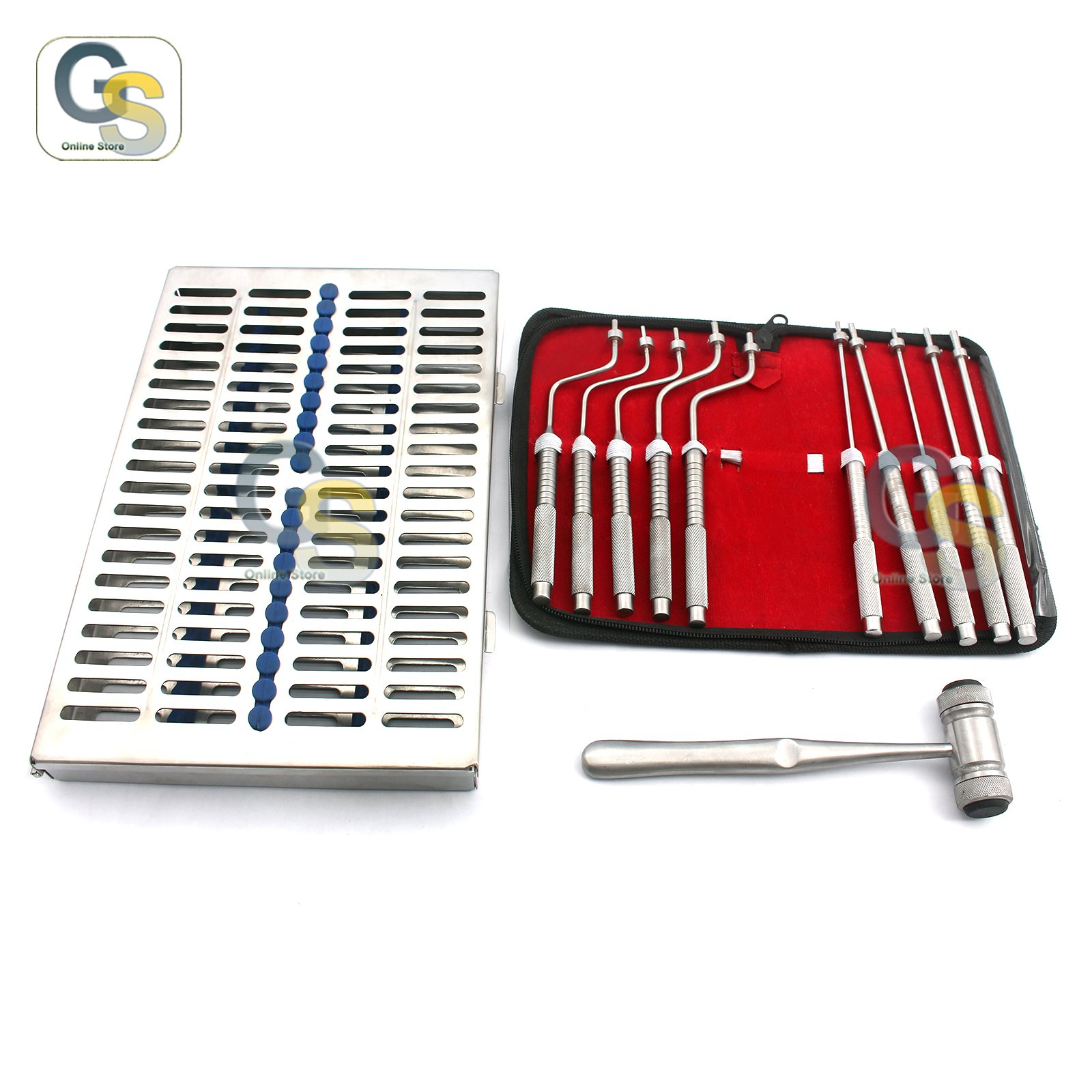 G.S NEW GERMAN GRADE SINUS LIFT OSTEOTOMES KIT STRAIGHT OFF SET CONCAVE DENTAL IMPLANT INSTRUMENT-W/STERILIZATION CASSETTES AND MALLET FREE BEST QUALITY
