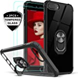 iPhone 8 Plus Case, iPhone 7 Plus Case, iPhone 6 Plus Case with Tempered Glass Screen Protector, LeYi Military Grade Clear Crystal Phone Case with Car Mount Kickstand for Apple iPhone 6s Plus, Black