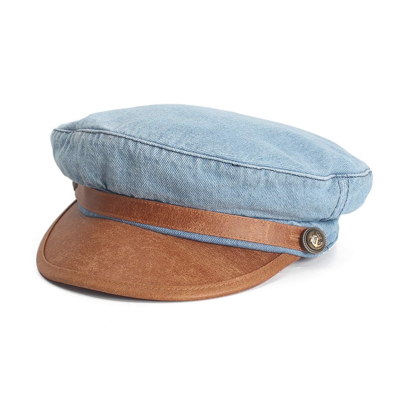 Women Denim Newsboy caps Men Vintage Washable Old Visor PU Leather Brim Octagonal hat Berets,Sky Blue,56-58cm