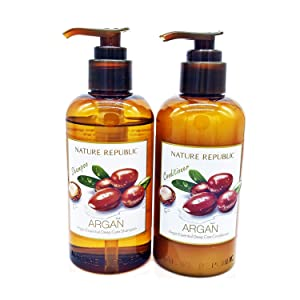 Nature Republic ARGAN Essential Deep Care SHAMPOO and CONDITIONER VALUE SET for Damaged Hair