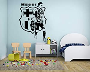 Lionel Messi Wall Decals Barcelona Football Player Decals Soccer Football Player Wall Sticker Vinyl Art Boy Room Decor Made in USA