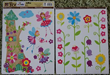 FLOWER FAIRY Childrens Wall Stickers For Girls Bedroom Playroom Or Babies Nursery