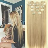 """Neverland Two Tone 24"""" Long Straight Clip in Hair Extensions Hairpieces Dip Dye"""