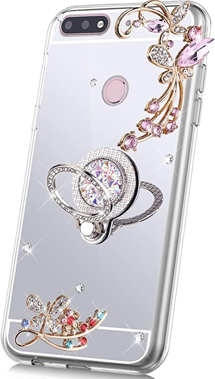 PHEZEN Case for Huawei Honor 8X Case Glitter,Bling Glitter Flower Sparkle Rhinestone Mirror Back TPU Silicone Case Cover with Ring Kickstand Diamond Crystal Case for Huawei Honor 8X,Rose Gold
