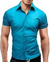 MERISH Short Sleeve Dress Shirt Slim Fit Men Classic Collar Modell 77