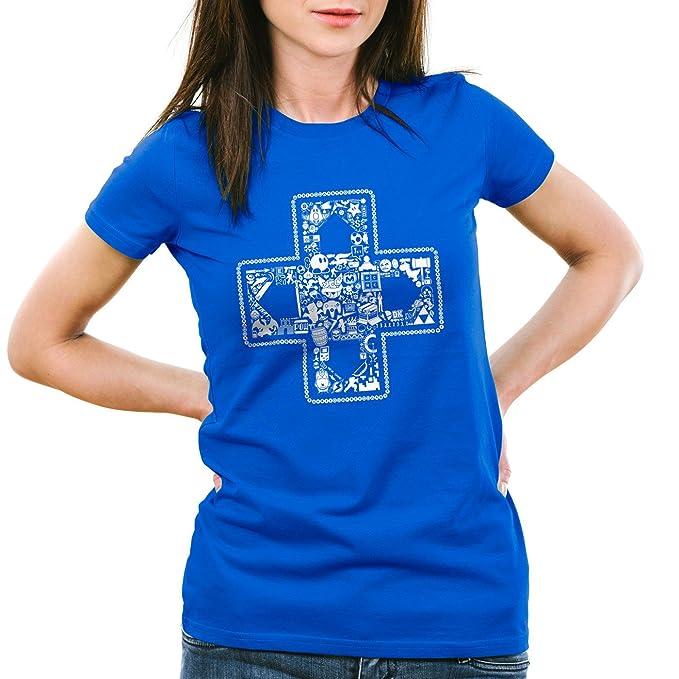 style3 Play Camiseta para Mujer T-Shirt Gamer Game Videojuego, Color:Azul;