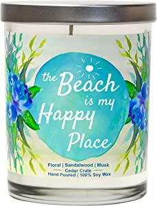The Beach is My Happy Place - Beach Candle, Beach Themed Gifts for Women, Beach Themed Decor for Best Friends, BFF, Beach Lovers Candle, Beach House Candle for Lovers of The Ocean Sand, Sea or Lake.