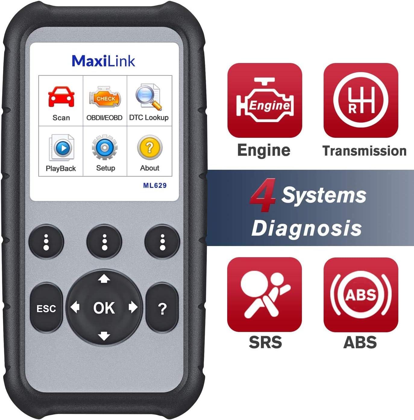 Autel MaxiLink ML629 Lector de Código de Coche Escáner OBD2 + ABS/SRS/Motor/Transmisión Herramienta de diagnóstico,Versión actualizada de ML619/AL619