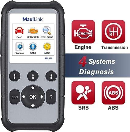 Motor //Transmisi/ón Herramienta de diagn/óstico,Versi/ón actualizada de ML619 Autel MaxiLink ML629 Lector de C/ódigo de Coche Esc/áner OBD2 ABS SRS