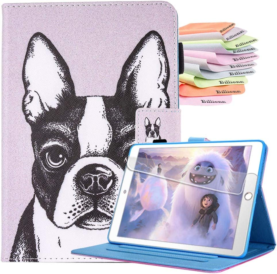 Billionn Case for iPad 10.2 Inch 8th Gen (2020)/7th Gen (2019), Auto Sleep/Wake Smart Cover with Free Cleaning Cloth and Screen Protector, Cute Dog