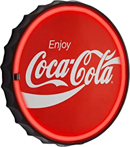 """Officially Licensed Coca Cola LED Neon Light Sign Wall Decor - Bottle Cap LED Neon Sign for Man Cave, Bar, Garage, Game Room – USB Powered (12.5"""")"""