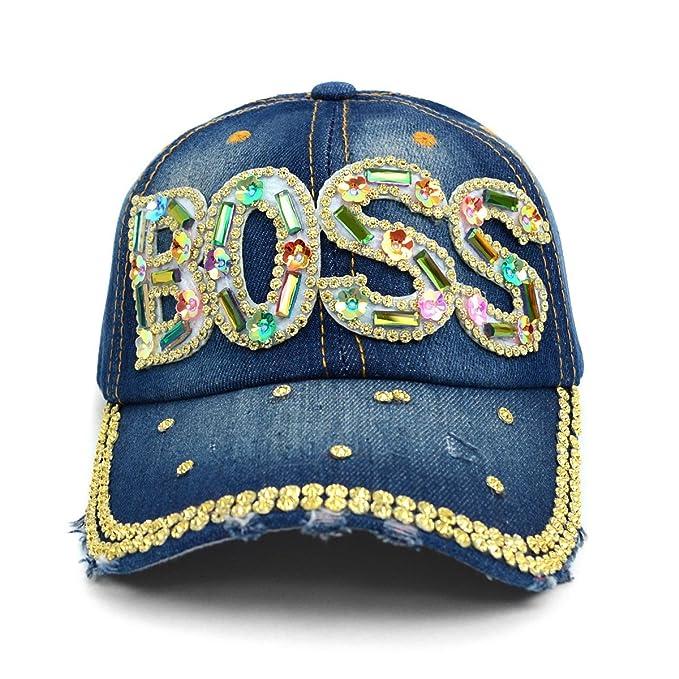 ed4c3f30697aea BOSS Baseball Cap Hat~Bling~Studs~Rhinestone~Faux Gemstone Embellished  (Dark Denim Blue) at Amazon Women's Clothing store: