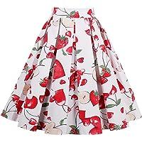 Joansam Vintage Retro Floral Print Skirts Womens High Waist Rockabilly Pleated Audrey Hepburn Style Saias Midi Swing Ball Gown Skirt