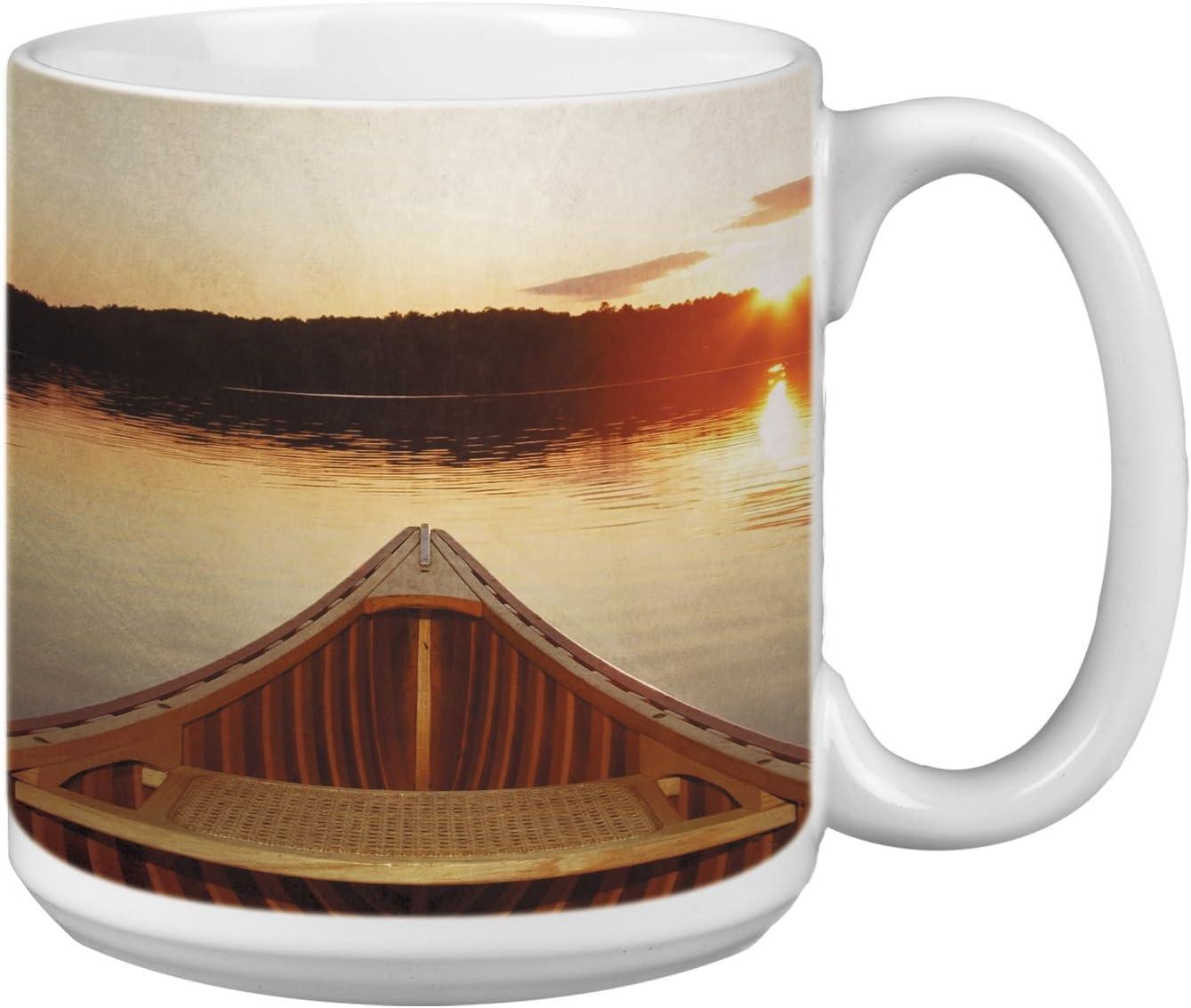 Serene Canoe Themed Outdoor Life Art Tree-Free Greetings Extra Large 20-Ounce Ceramic Coffee Mug XM63111