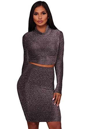 8c8a84f377 AMLLY Women Sexy Silver Sparkly Shimmer Dress Turtleneck Crop Top and Pencil  Skirt Two Piece Sets at Amazon Women's Clothing store:
